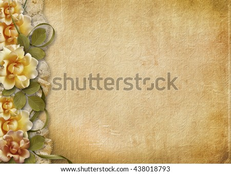 Vintage background with beautiful roses - stock photo