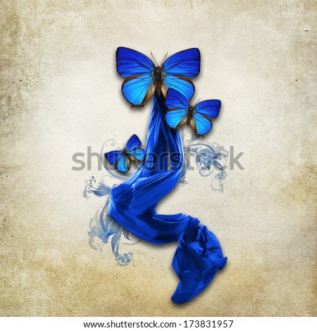 Vintage background with butterflies  - stock photo