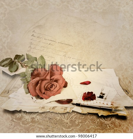 Vintage  background with card and roses for congratulations and invitations - stock photo