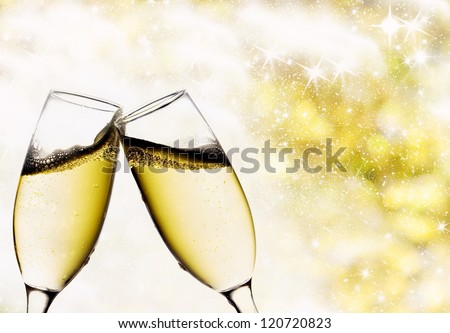Vintage background with champagne glasses - stock photo