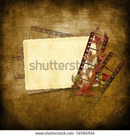 Vintage background with film strip and card - stock photo