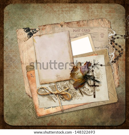 Vintage background with frame, roses and letters - stock photo