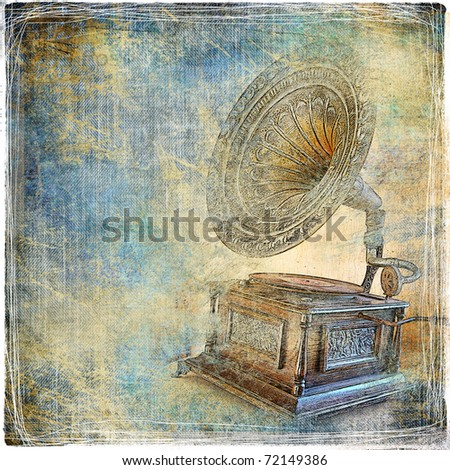 vintage background with gramophone - stock photo