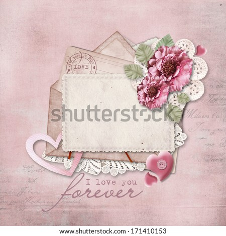 Vintage background with love card - stock photo