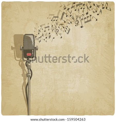 Vintage background with microphone - raster version - stock photo