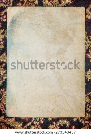 Vintage background with old paper, letters and photos on cloth - stock photo