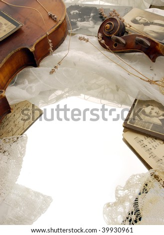 Vintage background with old violin and memories - stock photo