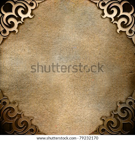 Vintage background with ornamental corner - stock photo