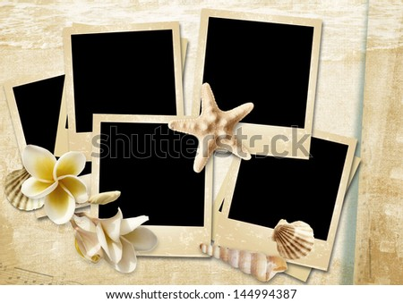 Vintage background with photo-frames and seashells - stock photo