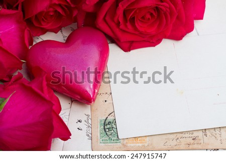 vintage background with pink heart and fresh roses - stock photo