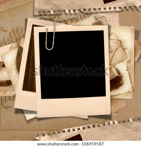 Vintage background with polaroid frame - stock photo