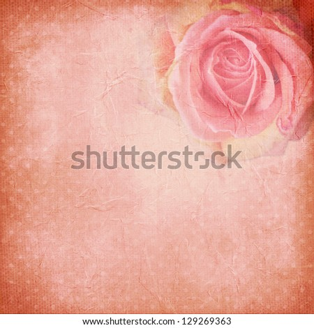 Vintage background with rose - stock photo