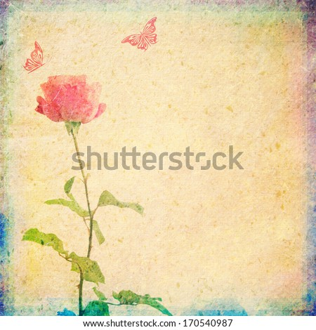 vintage background with rose and butterflies - stock photo