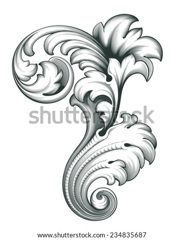 vintage baroque engraving floral scroll filigree design frame border acanthus pattern element - stock photo