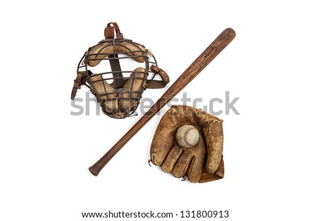 Vintage baseball glove, bat, ball and catchers mask isolated on a white background - stock photo