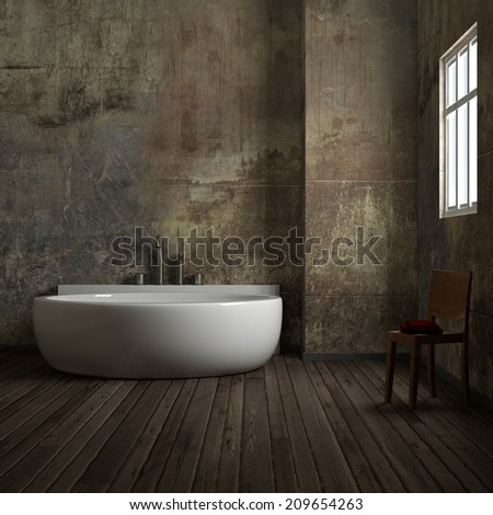 Vintage bathroom with chair and towel worn - stock photo