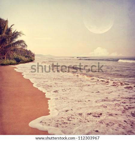 Vintage beach background - stock photo