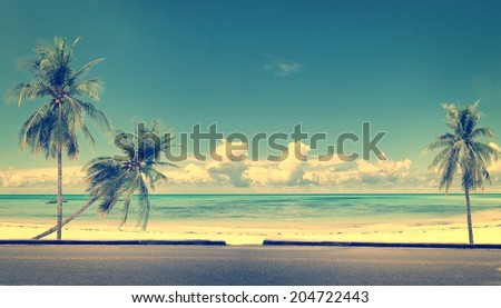 Vintage beach blue sky concept of love in summer and wedding honeymoon - stock photo
