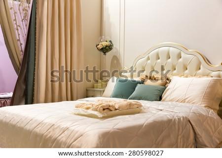 Vintage bedroom interior - stock photo