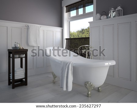 Vintage beige color bathroom with a golden sanitary engineering. 3d rendering - stock photo