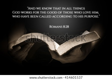 Vintage Bible Verse Background with the Bible - stock photo