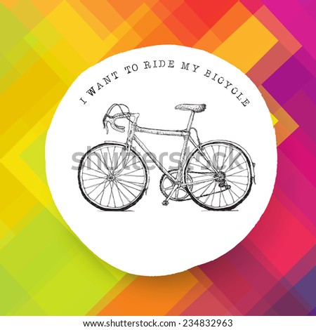 Vintage bicycle illustration on colorful background. Raster version - stock photo