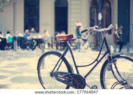 Vintage Bicycle in the Sunset Light - stock photo