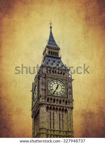 vintage Big Ben clock tower, London, UK - stock photo