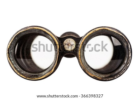 Vintage binoculars with compass isolated on white background   - stock photo