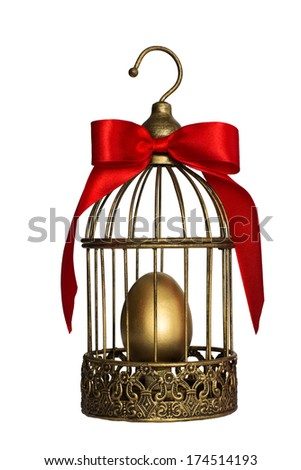 Vintage birdcage with golden egg, as the bank saves values - stock photo