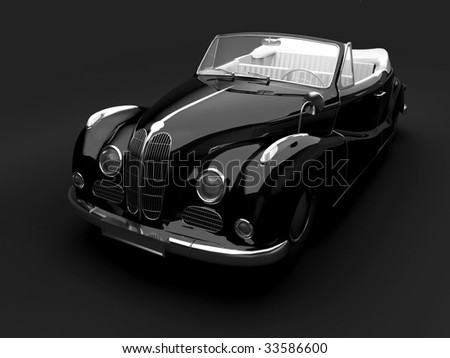 Vintage black car on dark background. For other views or colors of this car please check my portfolio. - stock photo