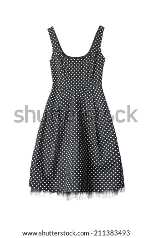 Vintage black with white dots dress on white background - stock photo