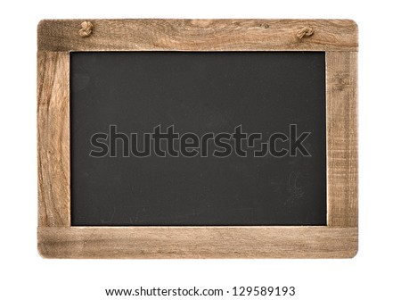 vintage blackboard with wooden frame isolated on white background. chalkboard with place for your text - stock photo