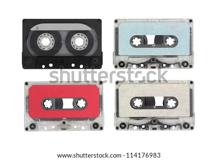 Vintage blank audio cassettes with clipping path. - stock photo