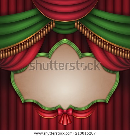 vintage blank banner over red and green theater stage curtain, performance placard, festive Christmas background - stock photo