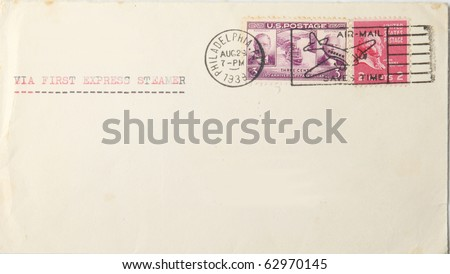 Vintage blank envelope with us postage stamps and postmarked 1939. Postmark says 'airmail saves time'  but typing says ' via first express steamer' . War had started in Europe. - stock photo