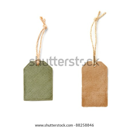 Vintage blank gift tags isolated on white background. - stock photo