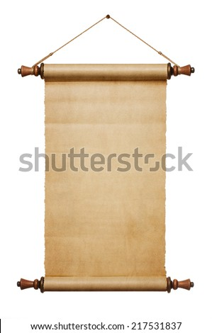 Vintage blank paper scroll isolated on white background with copy space - stock photo