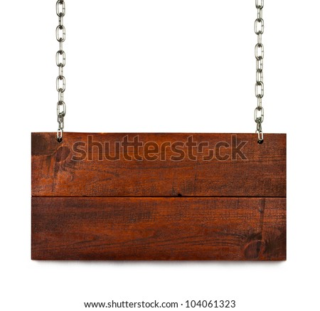 vintage blank wood sign board on chains with space for text isolated on white - stock photo