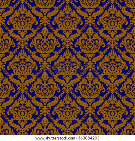 Vintage blue and brown seamless pattern background - stock photo