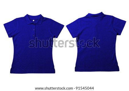 Vintage  Blue Female color Polo Shirt with white background Men Front and back Polo Shirt - stock photo