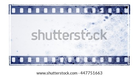 Vintage blue film strip frame with mossy wall surface - stock photo