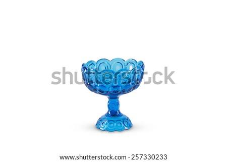 Vintage Blue Glass Bowl - stock photo