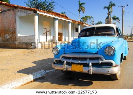 Vintage blue oldtimer car in the streets of Vinales, Cuba - stock photo
