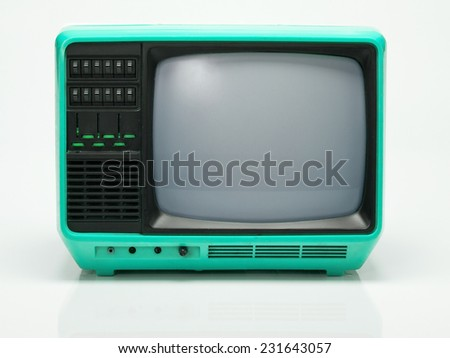 Vintage Blue TV isolated on White Background. Front View with Real Shadow. Copy Space for Text or Image - stock photo