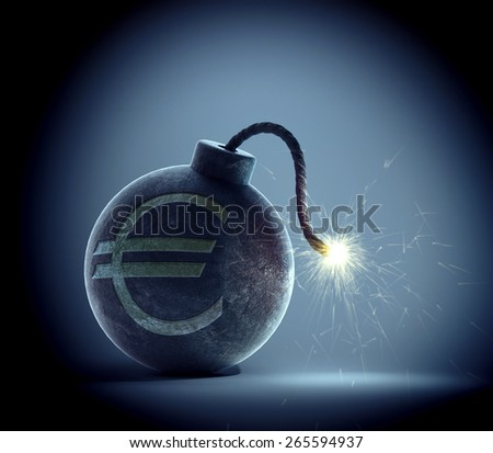 Vintage bomb with a Euro currency symbol on it and a lit fuse - stock photo