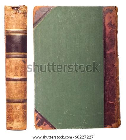 vintage book set isolated on white - stock photo