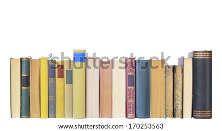 vintage books in a row, isolated on white background, free copy space  - stock photo