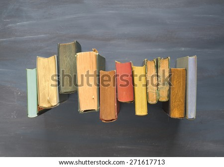 vintage books, top view, free copy space - stock photo