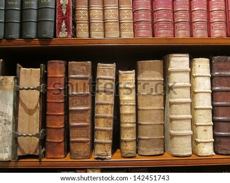 Vintage books with leather covers - stock photo
